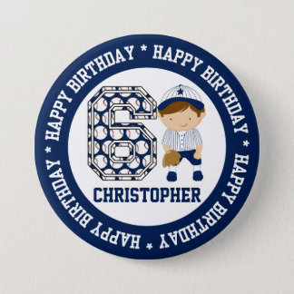 Personalized 6th Birthday Baseball Catcher BW 7.5 Cm Round Badge