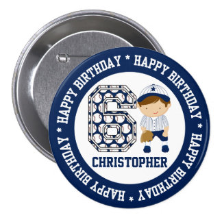 Personalized 6th Birthday Baseball Catcher BW 7.5 Cm Round Badge