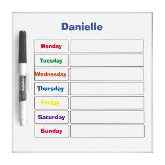 Personalized 7-Day Calendar Dry Erase Board