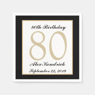 Personalized 80th Birthday Party Napkins Disposable Serviette
