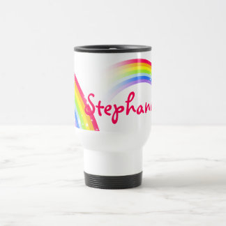 Personalized 9 letter name rainbow travel club mug