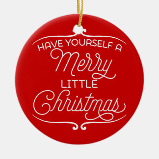 Personalized A Merry Little Round Ceramic Decoration