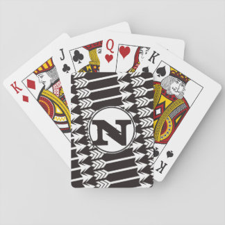 Personalized Abstract Arrow Monogram Playing Cards