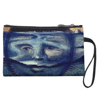 Personalized Abstract Art, Face Blue Wristlet