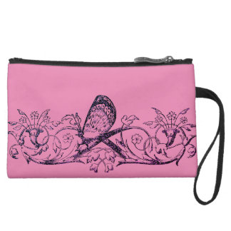 Personalized Abstract Butterfly, filigree Wristlet