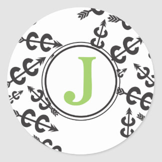 Personalized Abstract Cross Country Arrow Monogram Round Sticker