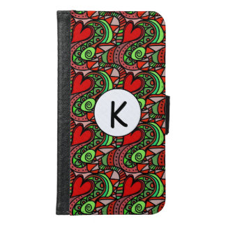 Personalized Abstract Heart Samsung Galaxy S6 Wallet Case