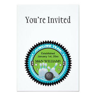 """Personalized Add Your Name Bowling Team Logo 5"""" X 7"""" Invitation Card"""