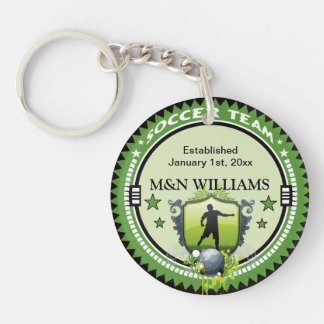 Personalized Add Your Name Soccer Team Logo Double-Sided Round Acrylic Key Ring