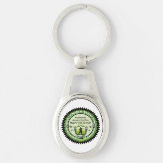 Personalized Add Your Name Soccer Team Logo Silver-Colored Oval Key Ring