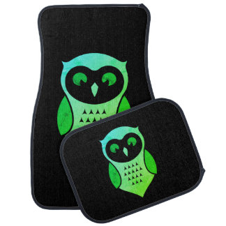 Personalized Adorable Green Hoot Owl Car Mat