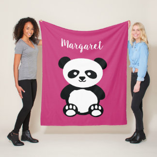 Personalized Adorable Panda Bear Girls Pink Kids Fleece Blanket