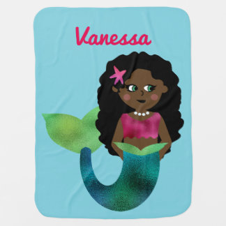 Personalized African American Faux Foil Mermaid Baby Blanket
