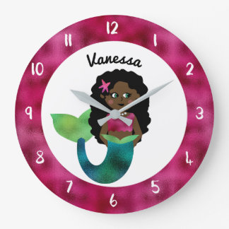 Personalized African American Mermaid Faux Foil Large Clock
