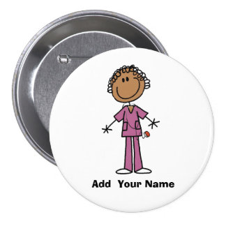 Personalized African American Nurse  Button