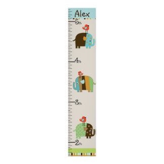 Personalized African Elephants Growth Chart Poster