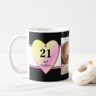 Personalized age 21st Birthday Photo black pink Coffee Mug