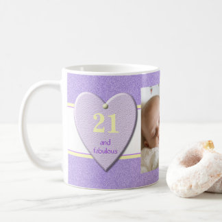 Personalized age purple 21st Birthday Photo Coffee Mug