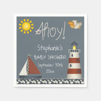 Personalized Ahoy Sail Boat Lighthouse Baby Shower Paper Napkin