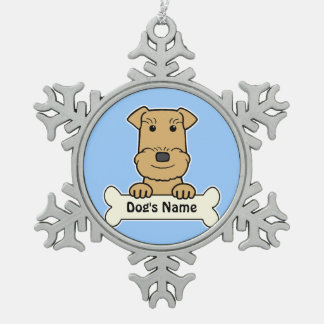 Personalized Airedale Terrier Snowflake Pewter Christmas Ornament