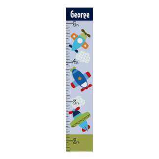 Personalized Airplanes Taking Flight Growth Chart Poster
