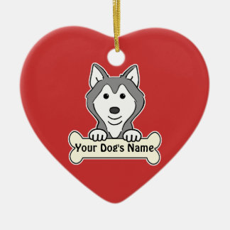 Personalized Alaskan Malamute Ceramic Heart Decoration