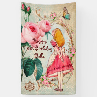 Personalized Alice in Wonderland Birthday Banner