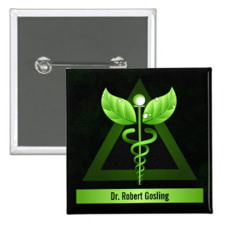 Personalized Alternative Medicine Green Caduceus 15 Cm Square Badge