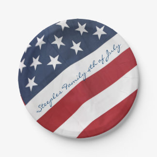 Personalized American Flag Paper Plates