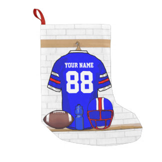 Personalized American Football Grid Iron jersey Small Christmas Stocking