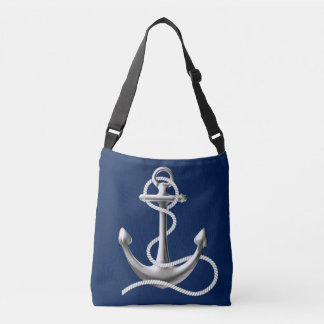 Personalized anchor cross body bag Navy blue