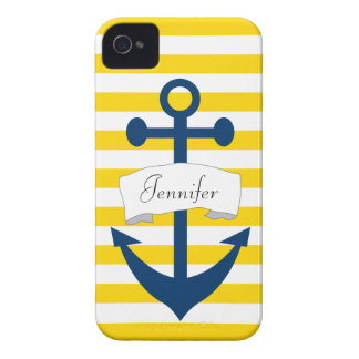 Personalized Anchor Yellow Stripe iPhone 4/4S Case Case-Mate iPhone 4 Case