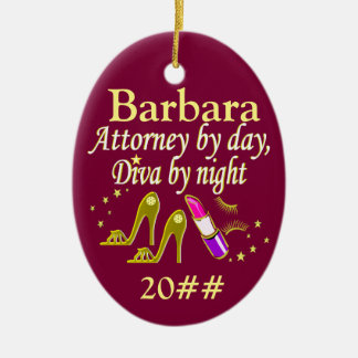 PERSONALIZED AND DATED LAWYER DIVA ORNAMENT