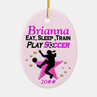 PERSONALIZED AND DATED SOCCER GIRL ORNAMENT
