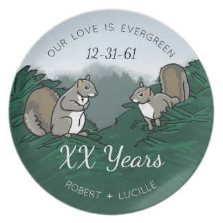 Personalized Anniversary Evergreen Love Squirrels Plate
