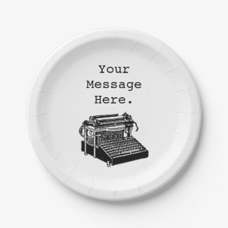 Personalized Antique Vintage Black Typewriter 7 Inch Paper Plate