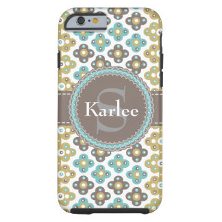 Personalized ANY NAME Chic Gold Blue Gray Pattern Tough iPhone 6 Case