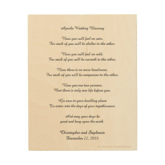 Personalized Apache Wedding Blessing Wood Wall Art