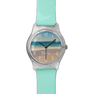 Personalized Aqua Beach Scene Wrist Watch