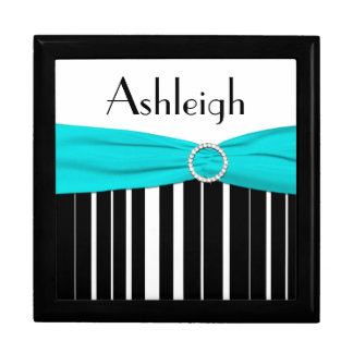 Personalized Aqua, Black, White Stripe Trinket Box