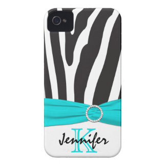 Personalized Aqua, Black, White Zebra Striped Case-Mate iPhone 4 Case
