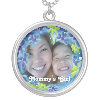 Personalized Aqua Blue And Green Flower Garden Round Pendant Necklace