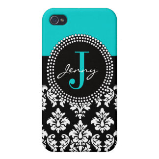 Personalized Aqua Blue Black Damask Pattern iPhone 4 Case