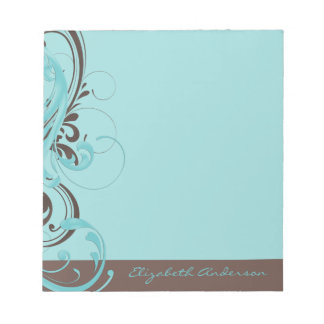 Personalized Aqua Blue Brown Floral Notepad