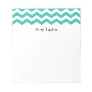 Personalized Aqua Chevron Stripes Notepad