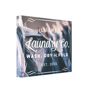Personalized Aqua Laundry Co Wash Dry Fold Sign