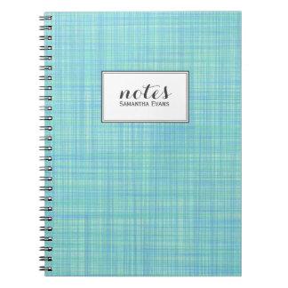 Personalized Aqua Lime Plaid Pattern Notebooks