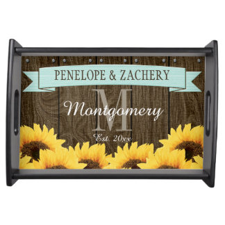 PERSONALIZED AQUA RUSTIC SUNFLOWER WEDDING SERVING TRAY