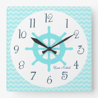 Personalized Aqua Ship Wheel Chevron Nursery Clock