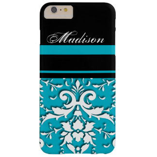Personalized Aqua Teal Damask iPhone 6 Plus Case